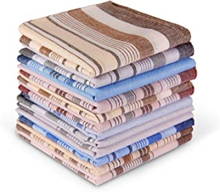 12 Men's Cotton Handkerchiefs, Ohuhu 12 Pack 100% Pure Cotton 4 Color Pocket Square Hankies/Pocket Handkerchiefs For Men, Great Gift For Father's Day Birthday