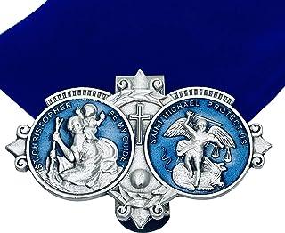 Amazing Saints St Christopher and St Michael Blue Visor Clip