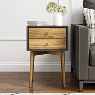 Nathan James Harper Mid-Century Side Table 2-Drawer, Wood Nightstand, Black/Brown