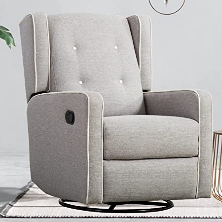 CANMOV Swivel Rocker Recliner Chair, Manual Reclining Chair, Single Seat Reclining Chair, Gray