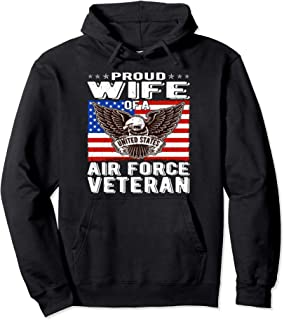 Proud Wife Of US Air Force Veteran Patriotic Military Spouse Pullover Hoodie