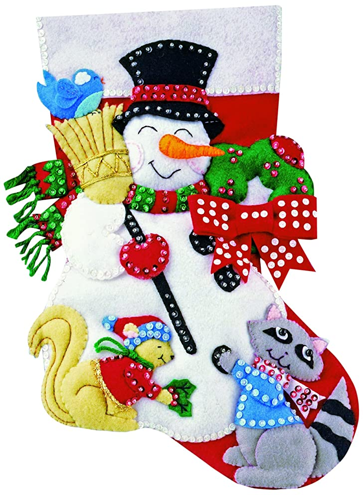 Design Works Felt Embroidery Applique kit Stocking - Snowman & Animals