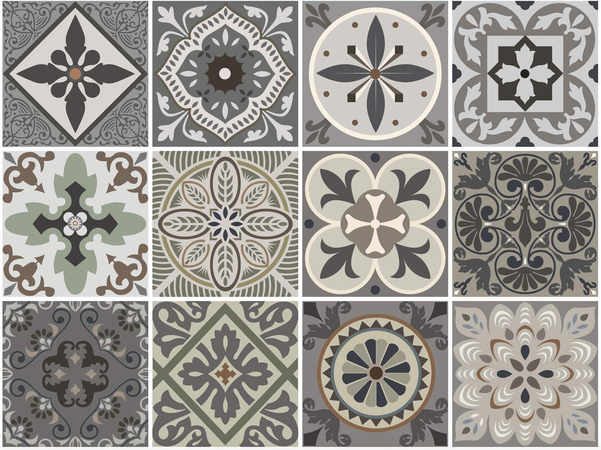 Venecia Decorative Tile Stickers Set 12 Units 6x6 inches. Peel & Stick Vinyl Tiles. Backsplash. Home Decor. Furniture Decor. Staircase Decor. 3 sqf per Package.
