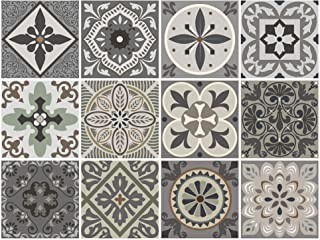 BRIKETO Venecia Decorative Tile Stickers Set 12 Units 6x6 inches. Peel & Stick Vinyl Tiles. Backsplash. Home Decor. Furniture Decor. Staircase Decor. 3 sqf per Package.