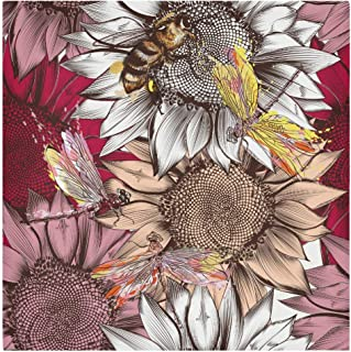 AUUXVA HAIIO Art Sunflower Bee Dragonfly Cloth Napkins 20x20 in Set of 1, Washable Satin Dinner Napkins Paper for Kitchen ...
