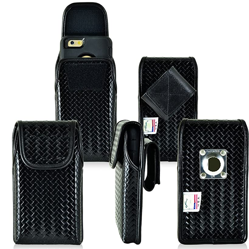 Law Enforcement Rugged Police Basketweave Genuine Leather Vertical Duty Belt Case with Hook and Loop Closure fits Samsung Galaxy Note 8 with a Defender case on it.