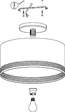 EGLO Plafonnier Esteperra - 1 ampoule - Vintage - Rétro - Lampe de salon en acier et textile - Noir et doré - Lampe de cuisin