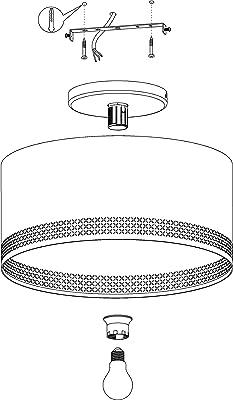Eglo Plafonnier Esteperra - 1 Ampoule - Vintage - Rétro - Lampe de Salon en Acier et Textile - Noir et Doré - Lampe de Cuisine avec Douille E27