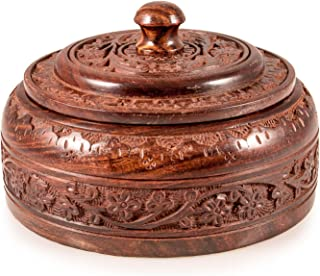Indian Wooden Large Spice Box Organizer Containers Without Spices (Masala Dabba)