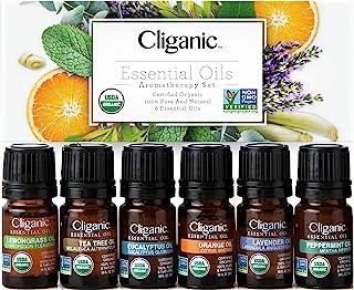 Cliganic USDA Organic Aromatherapy Essential Oils Set (Top 6), 100% Pure Natural - Peppermint, Lavender, Eucalyptus, Tea T...
