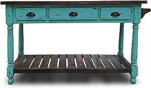 Eagle Furniture Manufacturing Ashlen Kitchen Island, Turquoise & Mahogany