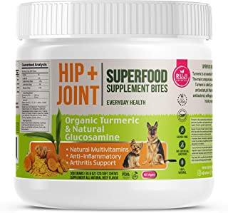 Ruji Naturals. Hip & Joint Supplement for Dogs with Organic Turmeric and Glucosamine. Natural Ingredients. Anti-Inflammatory. Arthritis Support. Natural Multivitamins. Senior Dog Support. Made in USA