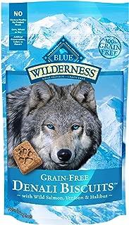 Blue Buffalo Wilderness Denali Biscuits High Protein Grain Free Crunchy Dog Treats, Wild Salmon, Venison, & Halibut 8-oz bag