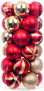 iPEGTOP Delicate Painting & Glittering Shatterproof Christmas Ball Ornaments - 30ct 60mm/2.4