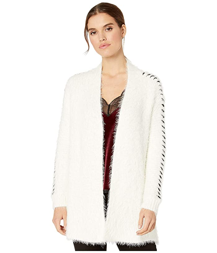 1.STATE  Whipstitch Eyelash Open Front Cardigan (Antique White) Womens Sweater