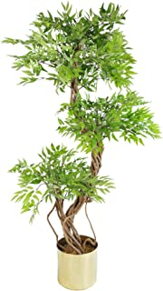 Leaf 140cm Realistic Artificial Japanese Fruticosa Ficus Tree Gold Metal Brushed Brass Planter