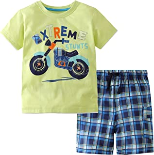 Frogwill Toddler Boys The Little Monster Truck Tee and Shorts Set 18M-7Y