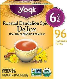 Yogi Tea - Roasted Dandelion Spice DeTox - Healthy Cleansing Formula - 6 Pack, 96 Tea Bags Total