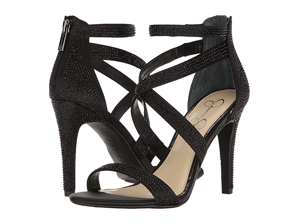 Jessica Simpson Emilyn (Black Crystal Satin) Women