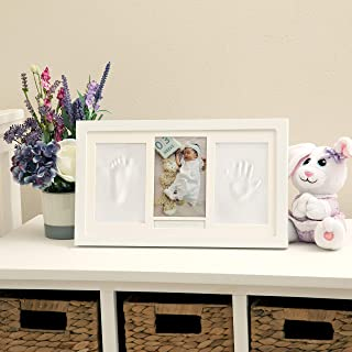 Nuby Baby Hand & Footprint Kit with Wall Decor Frame That Holds One 4 x 6 Photo & 2 Clay Print Kits for Newborn Girls & Bo...
