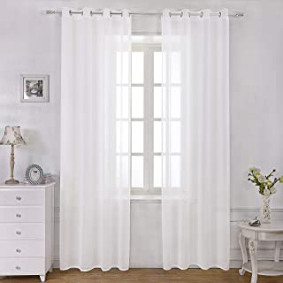 Selectex Linen Look Semi-Sheer Curtains - Grommet Voile Curtains for Living and Bedroom, Set of 2 Curtain Panels (54 x 84 Inch, White)
