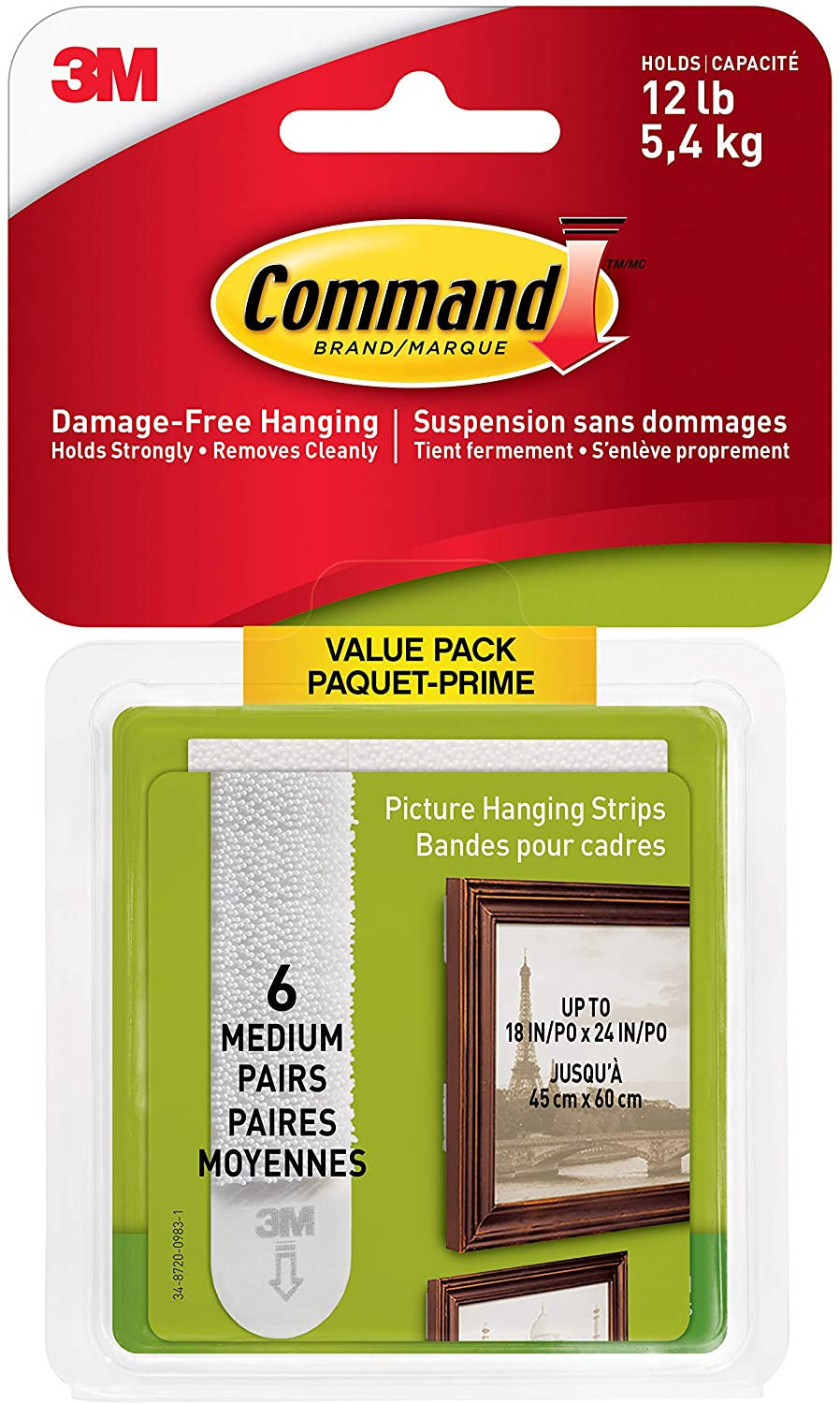Command Medium Picture Hanging Department store Strips 12 Sets of Outlet SALE Capacity 6 lb