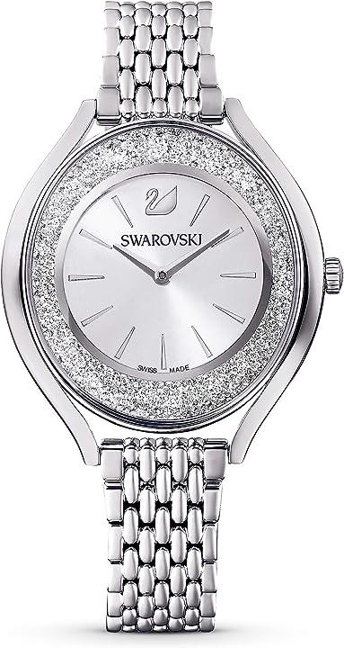 Orologio swarovski  crystalline aura, bracciale di metallo, tono argentato, acciaio inossidabile 5519462