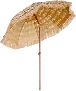 FOREVER BAMBOO 6.5 Ft. Tiki Thatch Tilt Beach and Patio Umbrella – Hawaiian Style Palapa with UV Protection (6.5 Ft.)