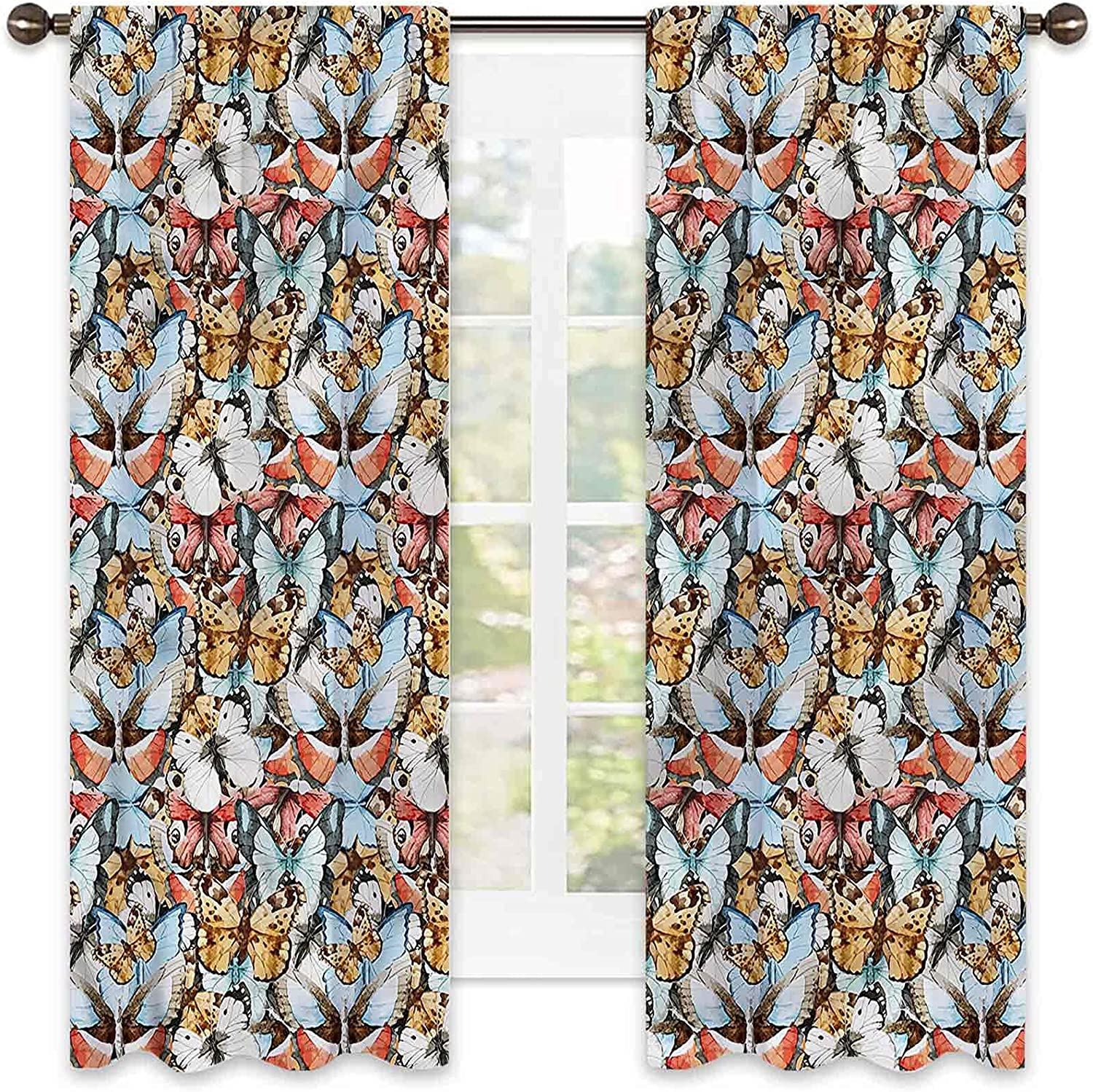 Max 75% OFF Butterfly Heat Insulation Curtain Watercolor Living Philadelphia Mall Abstract R