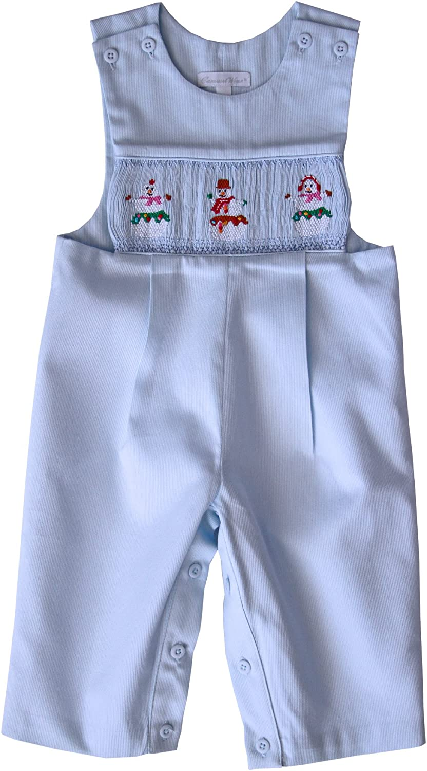 Hand Smocked Snowman Baby Boys Christmas Outfit Longall Overalls