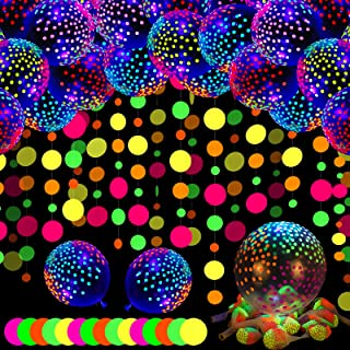 50 PCS 12 Inch Neon Balloons Blacklight Party Balloons Glow Balloon Blacklight Mini Dots Balloons Fluorescent balloons UV ...