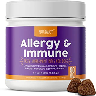 Nutrajoy Dog Allergy Relief & Immune Supplement Chews - with Omega 3 Wild Alaskan Salmon Fish Oil + Quercetin with Bromela...