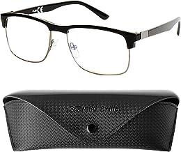 Gafas de Lectura con Cristales Rectangulares, Montura de Acero Inoxidable (Negra), Funda GRATIS para Hombre y Mujer +1.5 Dioptrías