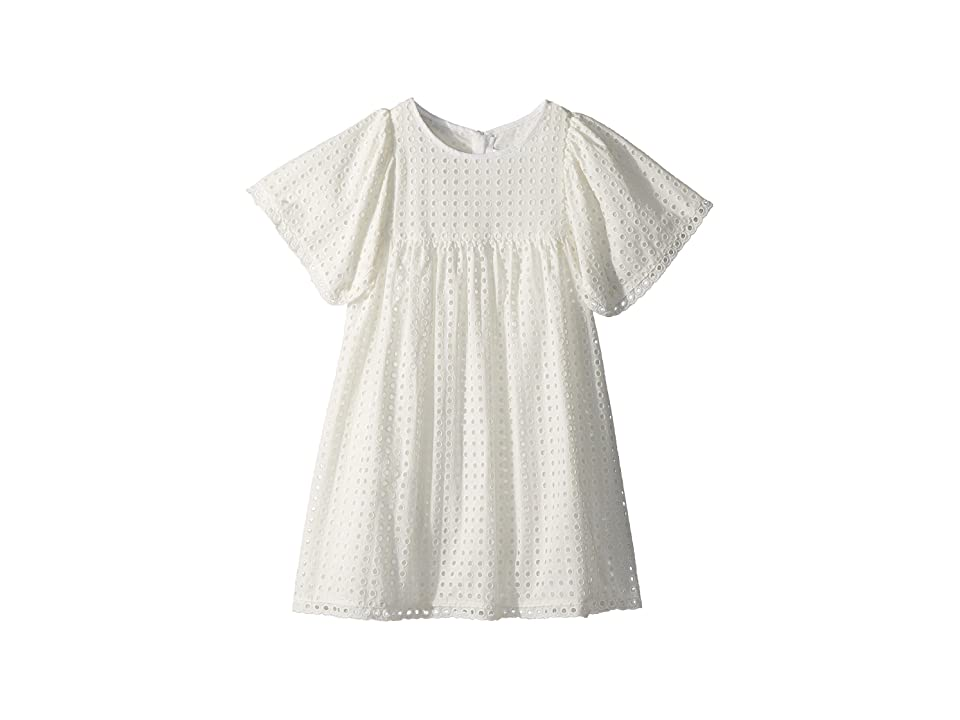 Chloe Kids French Embroideries Short Sleeve Dress (Little Kids/Big Kids) (Off-White) Girl