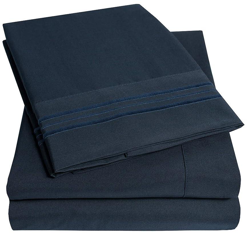 歩道赤外線十一1500 Sweet Home Collection ベッドシーツ - 4点 ベッドシーツセット 深いポケット 最安価格、SINCE 2012 - しわができにくい低刺激性寝具 23色 - フル、ネイビー