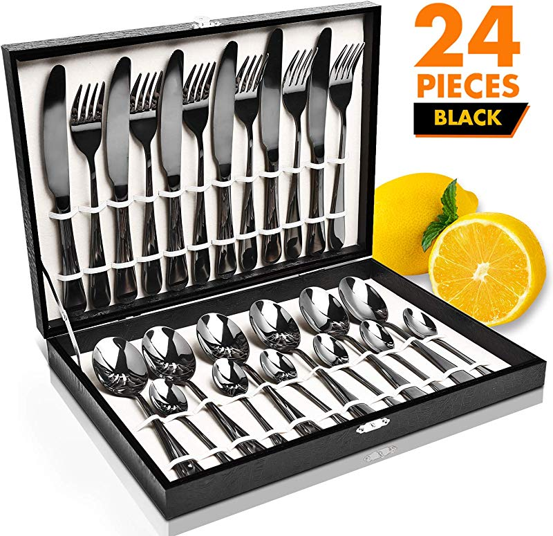 Black Silverware Set HOBO 24 Pieces Flatware Cutlery Set Japan Stainless Steel Dinnerware Set Tableware Set Service For 6 Include Knife Fork Spoon Set With High Grade Wooden Box
