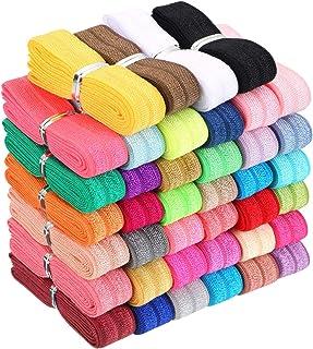 FOE Shiny Elastic DIY Bulk  Elastic Ribbon Tie Dye Elastic by the yard Multicolor Foldover Elastic Rainbow 58 Fold Over Elastic