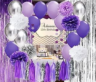 Qian's Party Bridal Shower Decorations Purple White Silver Latex Balloons Purple Silver Foil Fringe Curtain for Purple Baby Shower Decorations/Purple Birthday Party Decorations Photo Backdrop