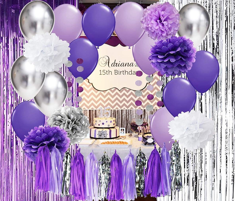 Qian's Party Bridal Shower Decorations Purple White Silver Latex Ballons Purple Silver Foil Fringe Curtain for Purple Baby Shower Decorations/Purple Birthday Party Decorations Photo Backdrop