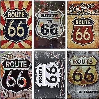 MGJJ Route 66 Retro Tin Sign for Home Decoration 6pcs 30cm20cm (7.8711.81inch)