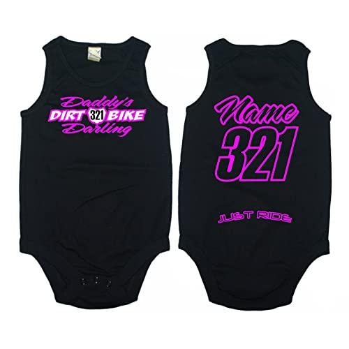 cf810a077 Daddy's Dirt Bike Darling Moto Baby Tank Top Infant Creeper One Piece  Personalized