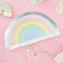 Ginger Ray Pastel Rainbow Shaped Foiled Paper Party Plates Tableware 8 Pack