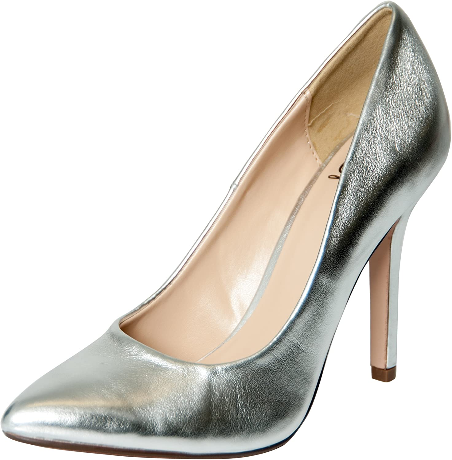 Delicious Womens Date-H Fashion Pumps-shoes,Silver,9