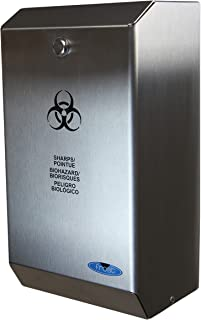 "Frost 878 Stainless Steel Biomedical Sharps Disposal, 4.23 quarts, 5.9"" Thickness, Stainless Steel, Brushed Finish"