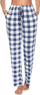 Vlazom Women's Pyjama Bottoms Cotton Long Ladies Lounge Pants Pyjamas Nightwear Pjs Trousers with Pockets