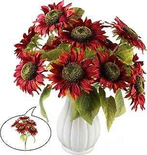 Aonewoe Sunflowers Artificial Flowers 2Pcs 14 Heads/Total Fake Flowers 18.5