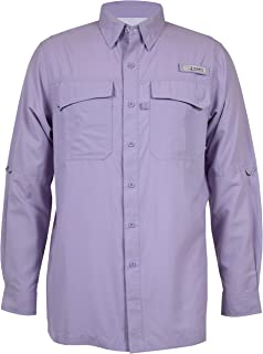 HABIT Men's Taku Bay Long Sleeve River Guide Fishing Shirt, Lavender, 2X-Large