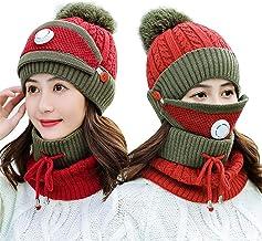 YTXTT Conjunto de 3 peças de cachecol feminino de inverno com filtro de malha espessa, chapéu de esqui para mulheres, home...