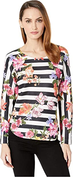 Stripe Floral Print Top