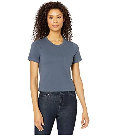 Alternative Heavyweight Recycled Cotton Cropped Pocket Tee (Ombre Blue) Women